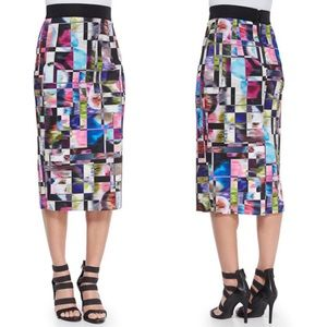 Milly Cubist Midi Pencil Skirt